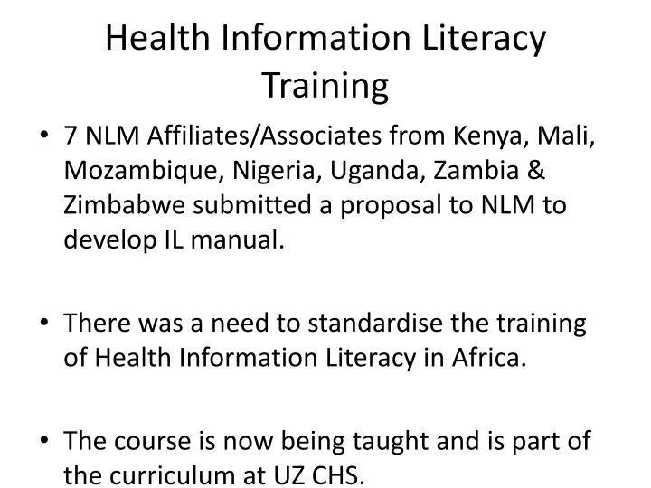 Health Information Literacy Training