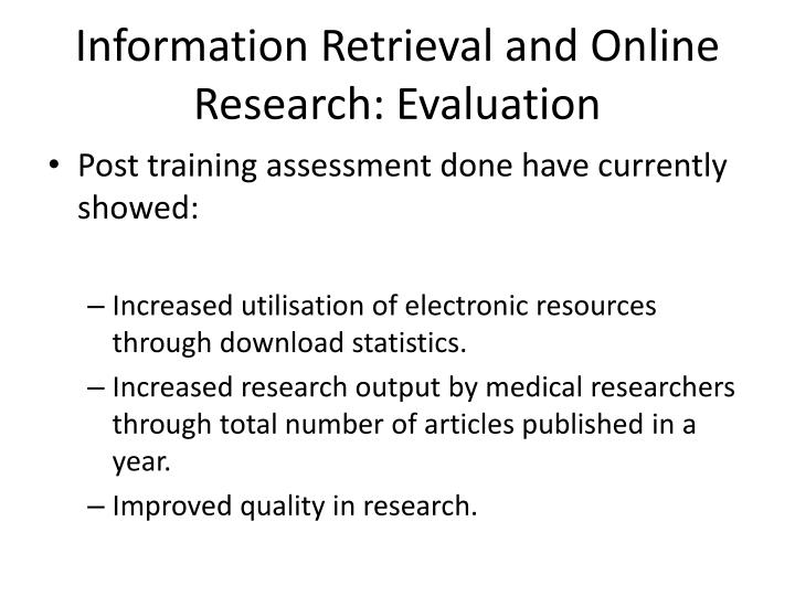 Information Retrieval and Online Research: Evaluation
