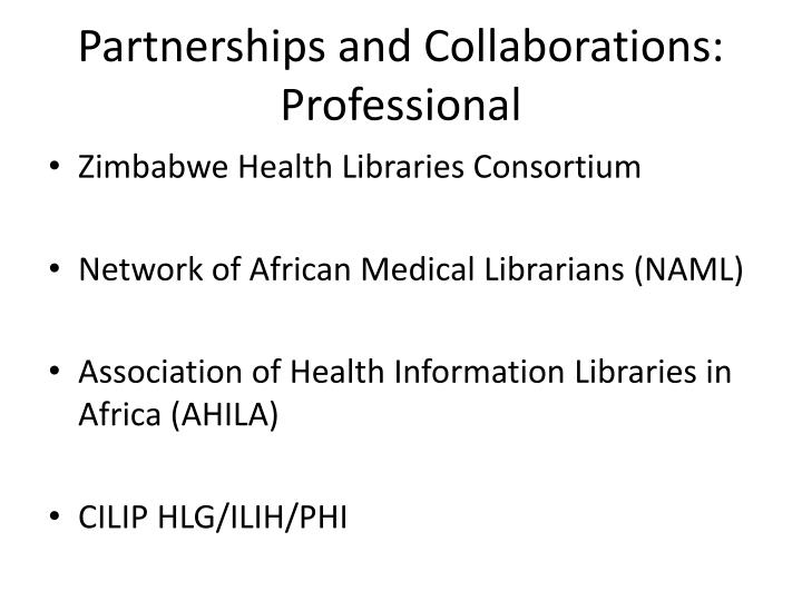 Partnerships and Collaborations: Professional