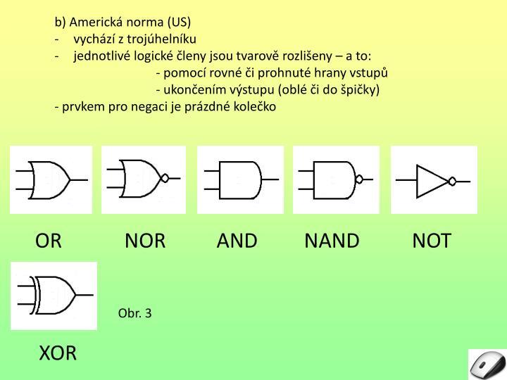 b) Americká norma (US)