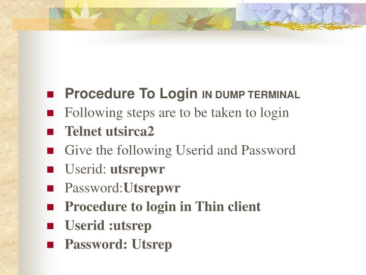 Procedure To Login