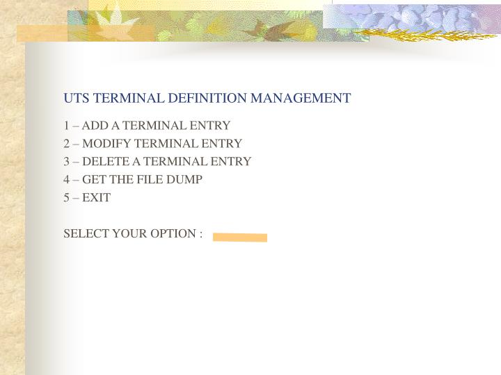 UTS TERMINAL DEFINITION MANAGEMENT