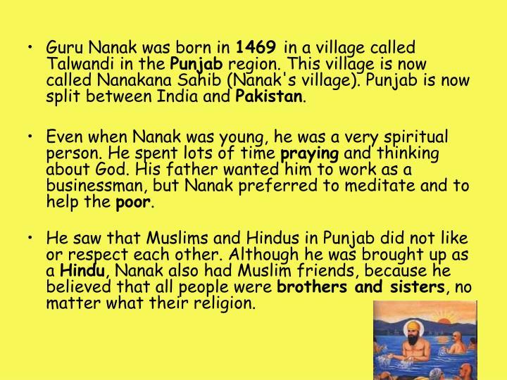 Guru Nanak was born in