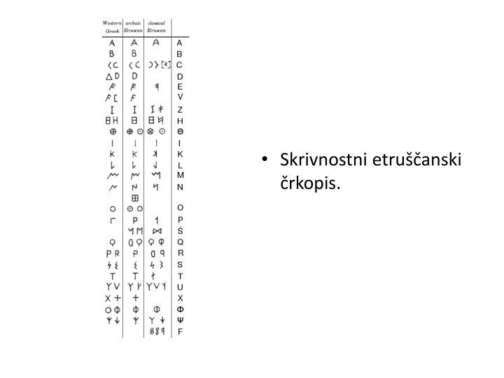 Skrivnostni etruščanski črkopis.