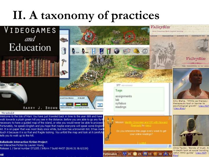 II. A taxonomy of practices