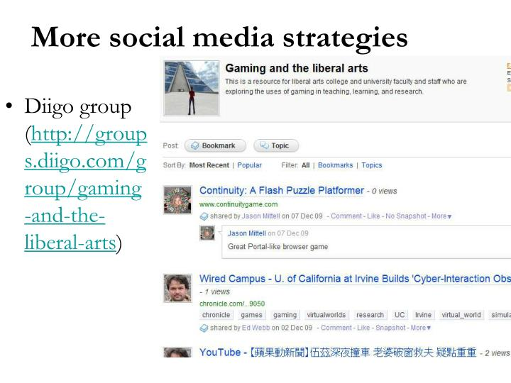 More social media strategies