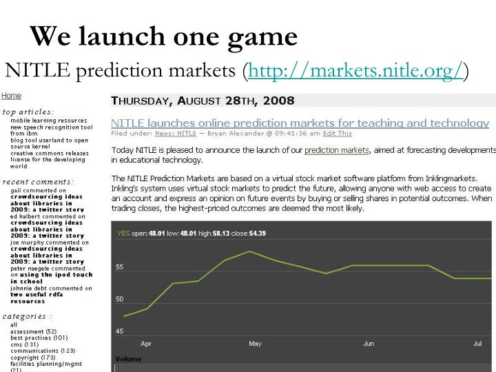 NITLE prediction markets (
