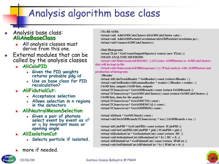 Analysis algorithm base class