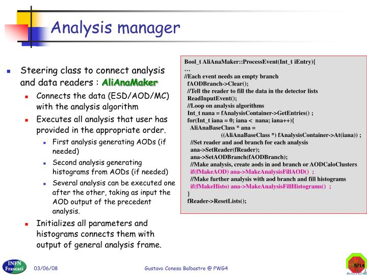 Analysis manager