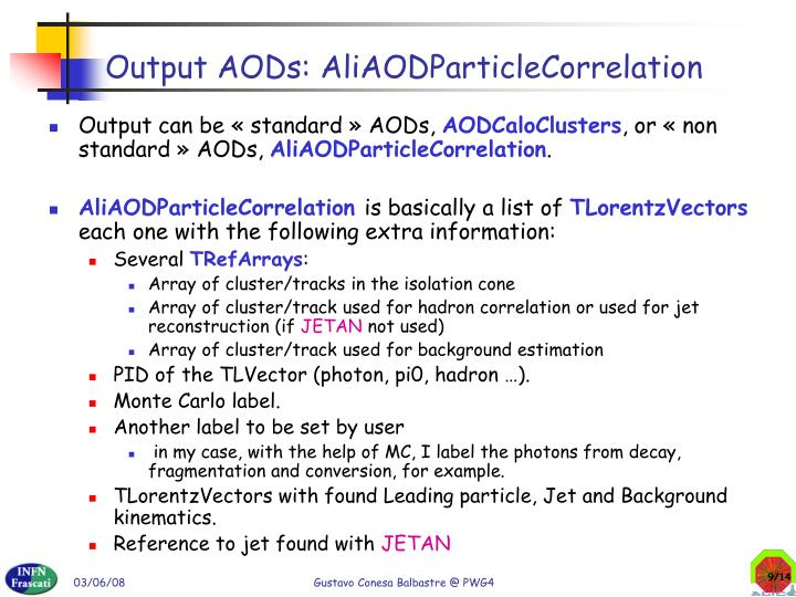 Output AODs: AliAODParticleCorrelation