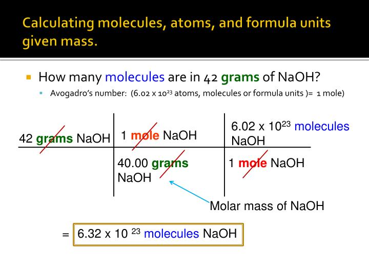 Calculating molecules, atoms, and formula units given mass.