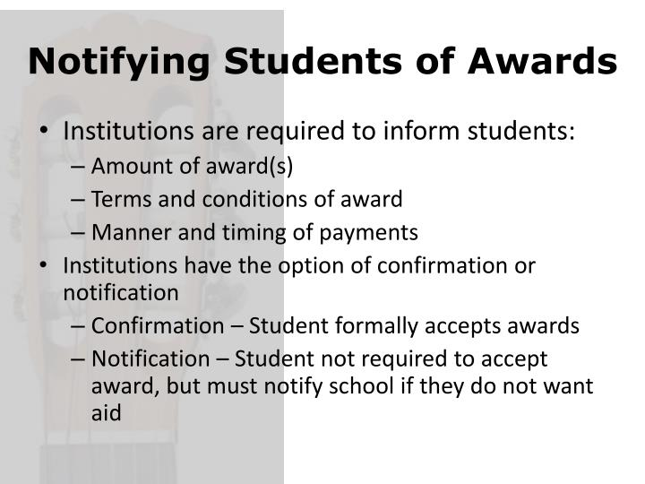 Notifying Students of Awards