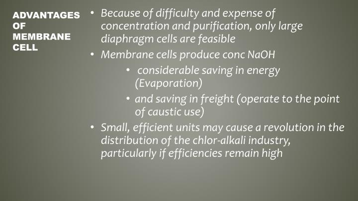 Because of difficulty and expense of concentration and purification, only large diaphragm cells are feasible
