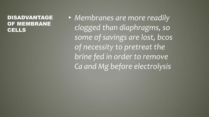 Membranes are more readily clogged than diaphragms, so some of savings are lost,