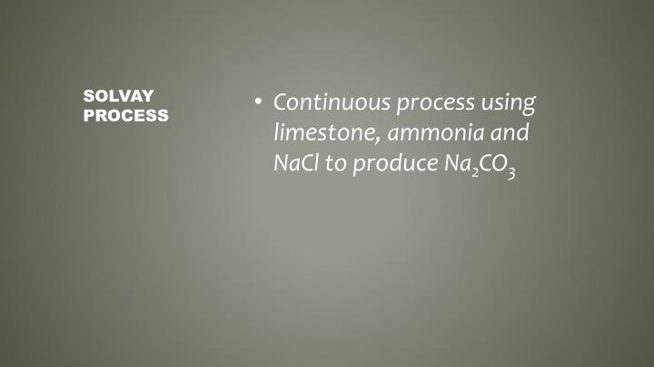Continuous process using limestone, ammonia and