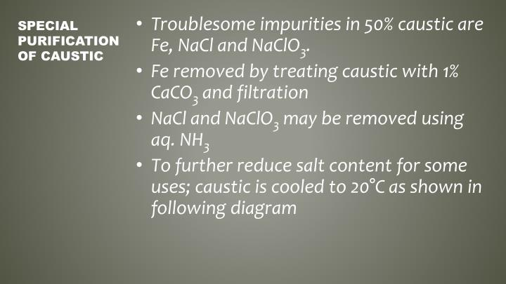Troublesome impurities in 50% caustic are Fe,