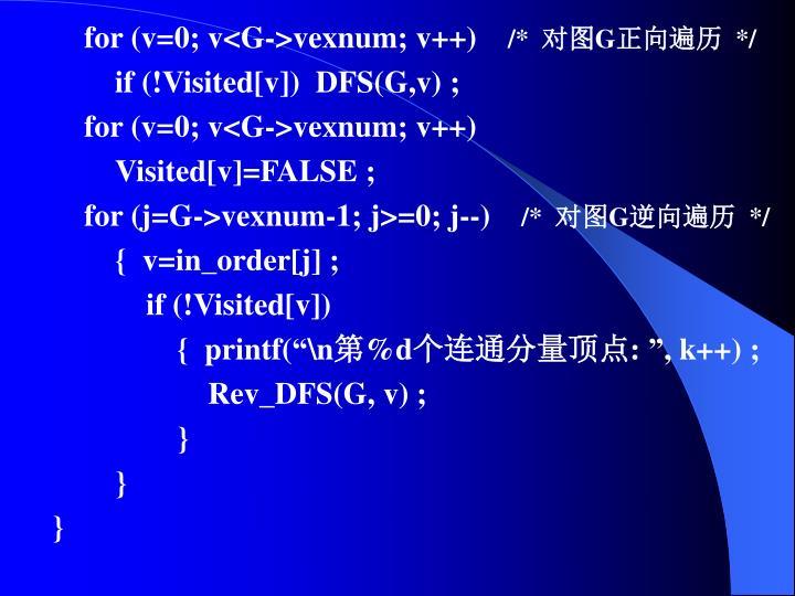 for (v=0; v<G->vexnum; v++)