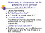 almost every social encounter has the potential to create confusion and raise stress levels