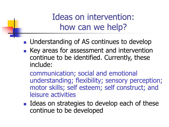 Ideas on intervention: