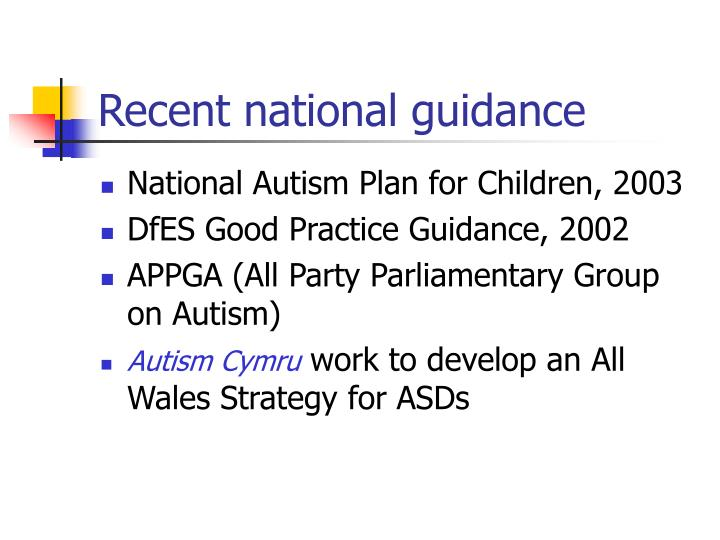 Recent national guidance