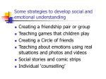 some strategies to develop social and emotional understanding