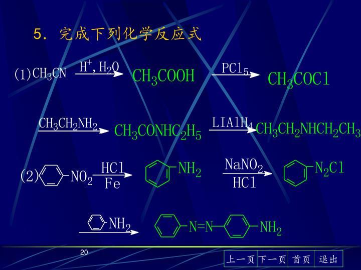 5.完成下列化学反应式