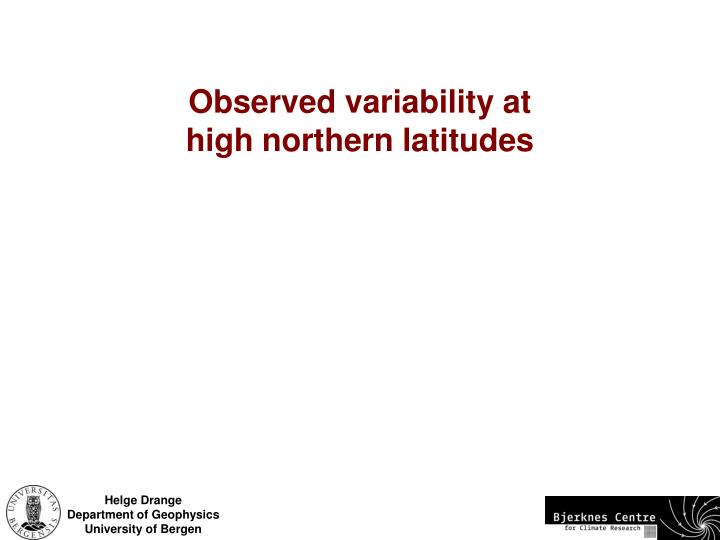 Observed variability at