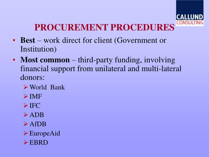 PROCUREMENT PROCEDURES