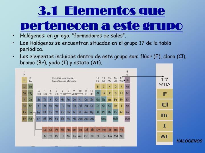 3.1  Elementos que pertenecen a este grupo