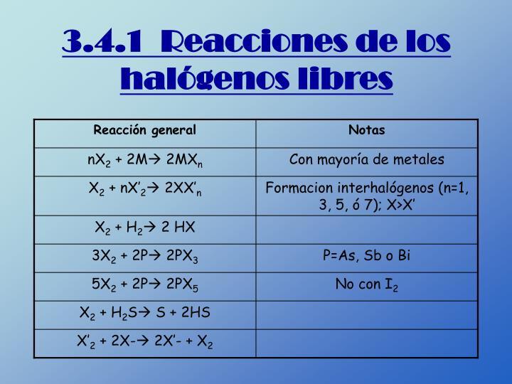 3.4.1  Reacciones de los halógenos libres