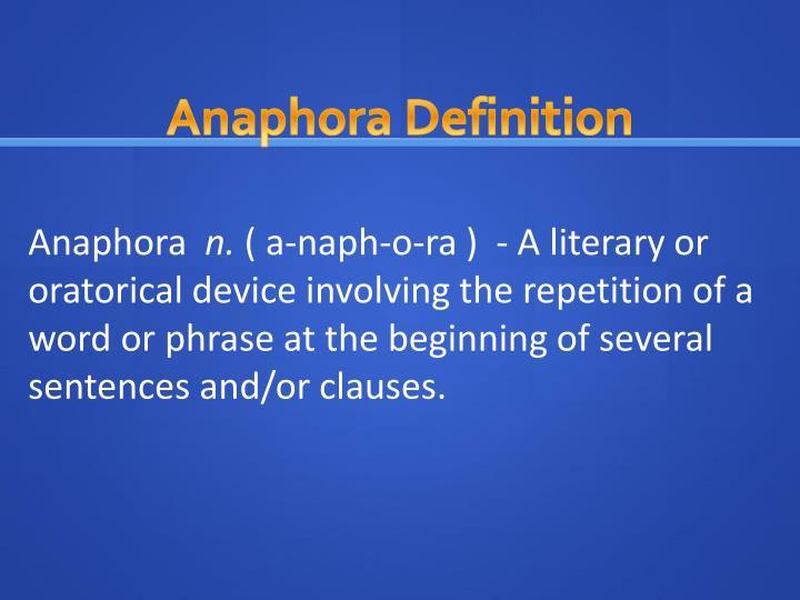 Anaphora Definition