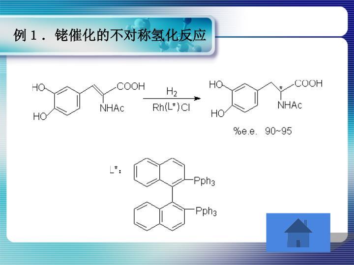 例1.铑催化的不对称氢化反应
