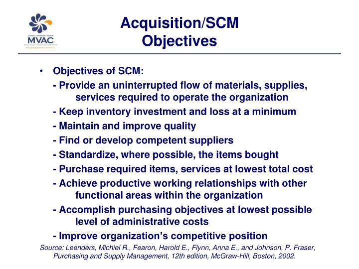 Acquisition scm objectives