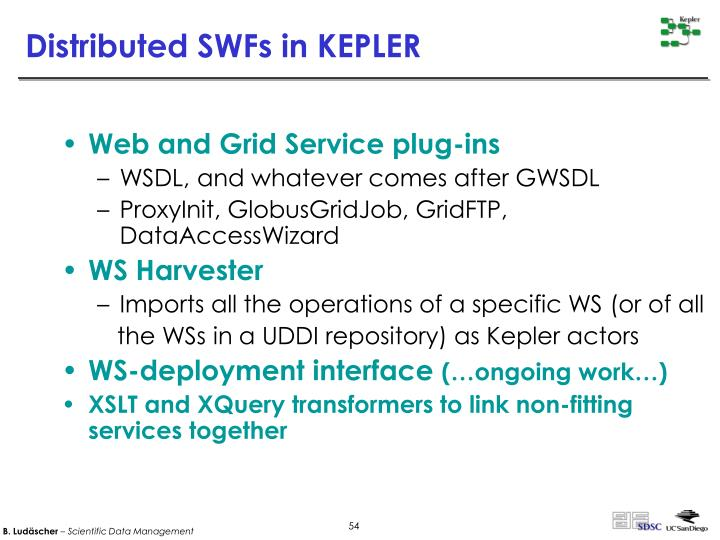 Distributed SWFs in KEPLER