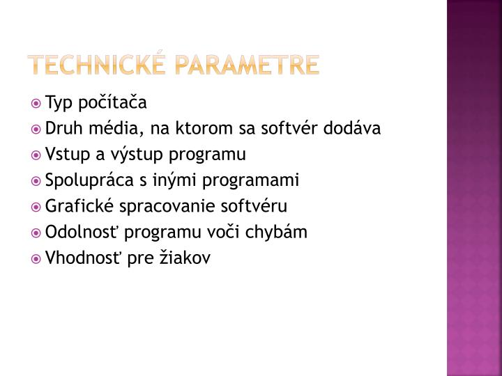Technické parametre