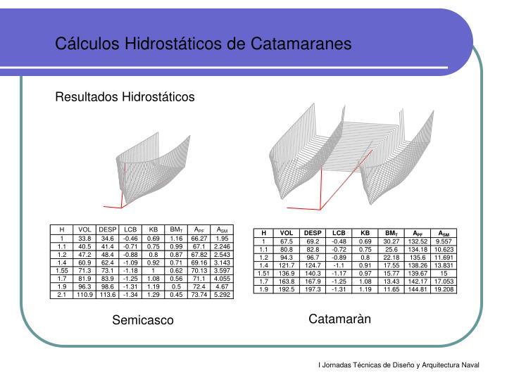 Cálculos Hidrostáticos de Catamaranes