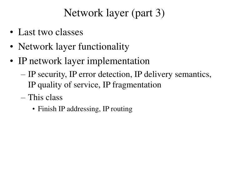 Network layer (part 3)