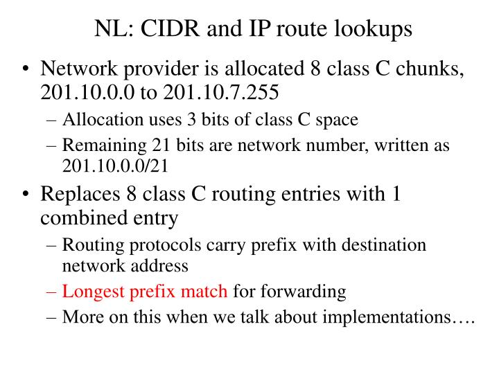 NL: CIDR and IP route lookups