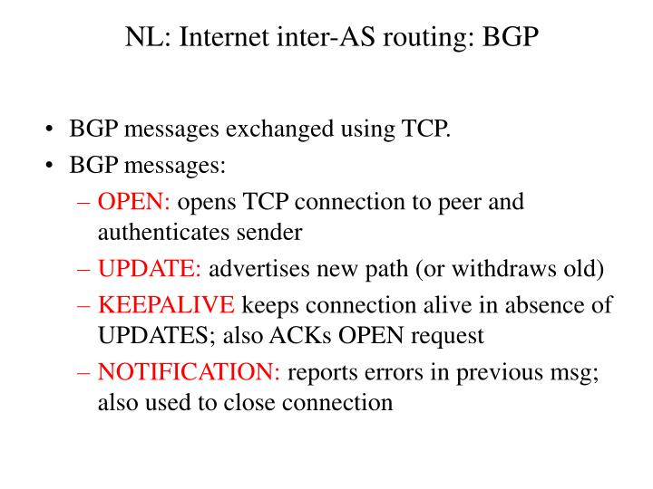 NL: Internet inter-AS routing: BGP