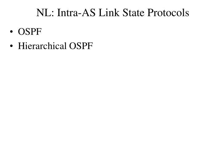 NL: Intra-AS Link State Protocols