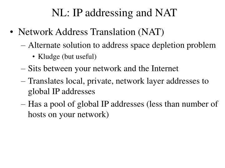 NL: IP addressing and NAT