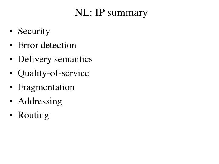 NL: IP summary