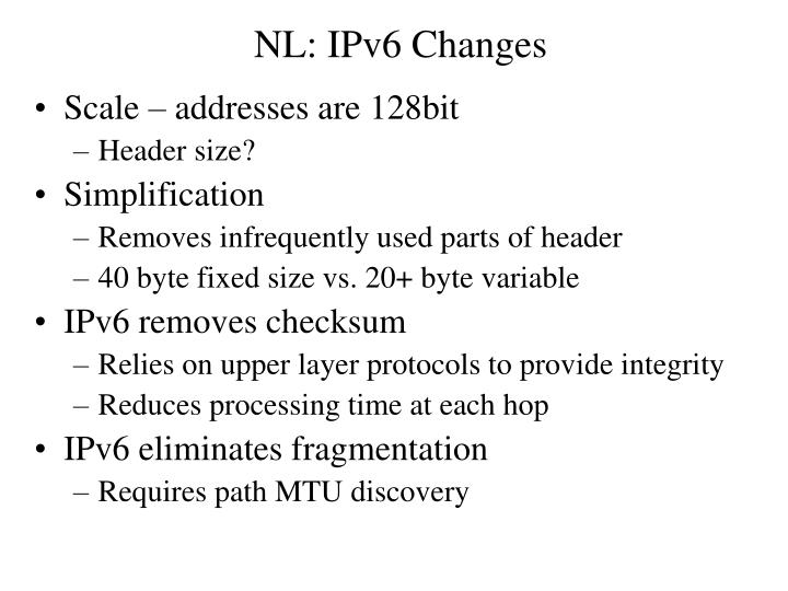 NL: IPv6 Changes