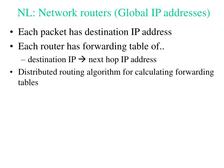 NL: Network routers (Global IP addresses)