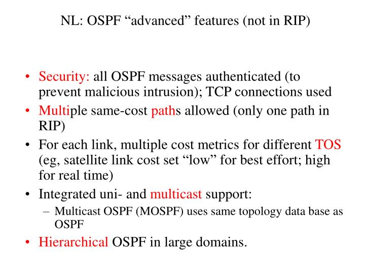 "NL: OSPF ""advanced"" features (not in RIP)"