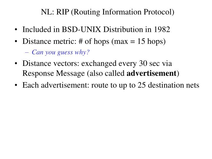 NL: RIP (Routing Information Protocol)