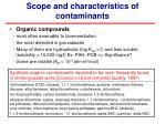 scope and characteristics of contaminants1