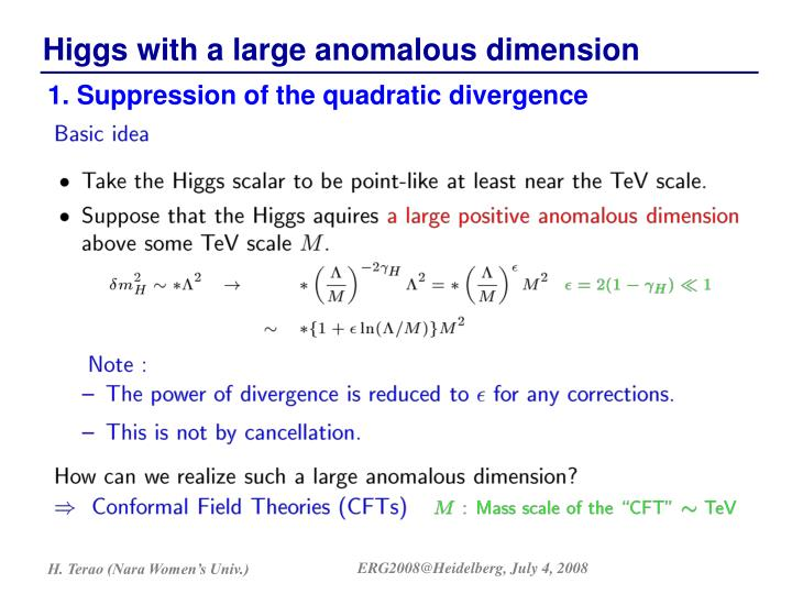 1. Suppression of the quadratic divergence