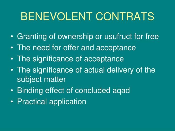 BENEVOLENT CONTRATS