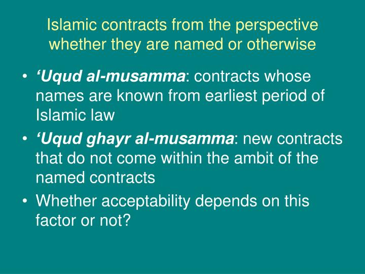 Islamic contracts from the perspective whether they are named or otherwise